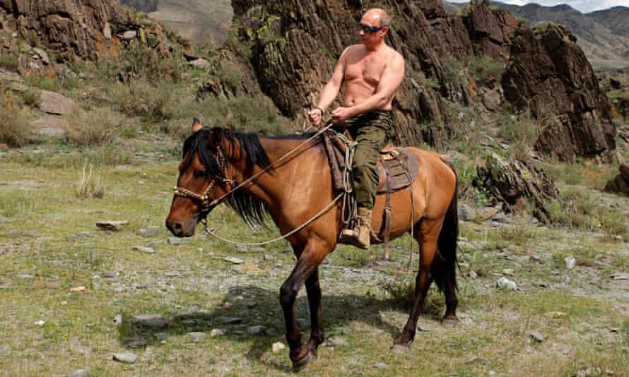 Russia's Prime Minister Putin rides a horse