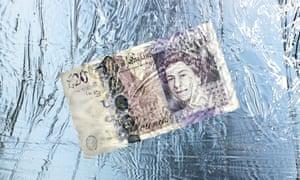 twenty pound note frozen in ice