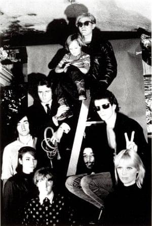 Andy Warhol (top) with The Velvet Underground, Nico's son Ari Delon, Mary Woronov, and Gerard Malanga, 1966.