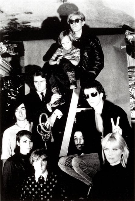 Andy Warhol (top) with The Velvet Underground, Nico's son Ari Delon, Mary Woronov, and Gerard Malanga, 1966.
