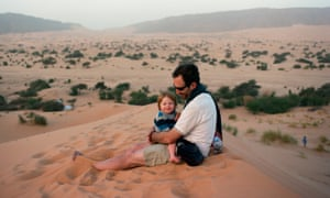 The writer's husband and son, Archie in the dunes close to Tergit.