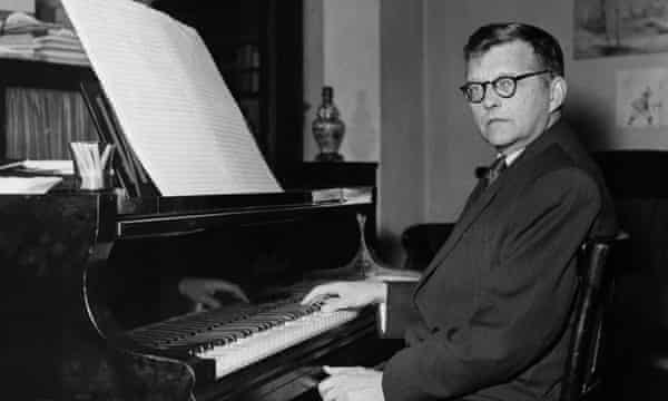 Dimitri Shostakovich at his piano at home, early 1950s.