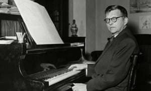 Dimitri Shostakovich at his piano at home, early 1950s.