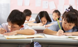 Chinese pupils studying in class