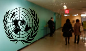 The United Nations logo is displayed on a door at U.N. headquarters in New York