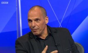 Black-clad Marxist ... Yanis Varoufakis on Question Time.