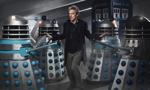 Peter Capaldi surrounded by Daleks.