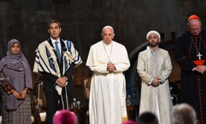 Pope Francis attends a multi-religious service at the 9/11 memorial.