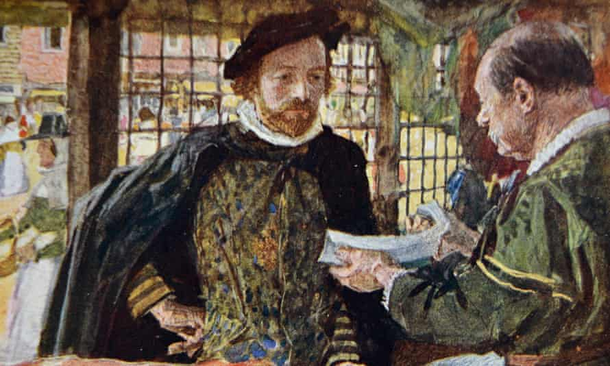 A detail from a 19th century painting of William Shakespeare