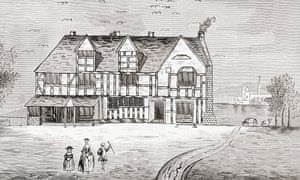 Detail of a drawing of William Shakespeare's house in Stratford-Upon-Avon.