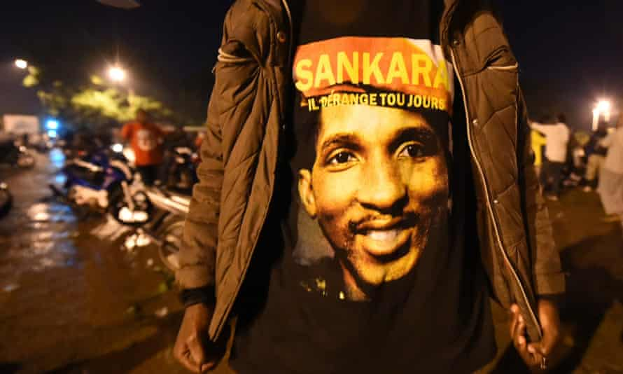 The face of Thomas Sankara on a demonstrator's T-shirt during a recent protest against the military coup on 18 September.