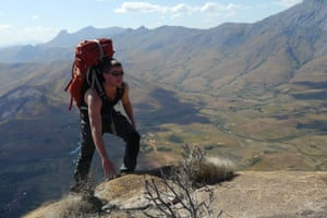 Welsh adventurer Ash Dykes doing a practice climb in Madagascar before the start of his attempt to trek the length of the world's fourth largest island.