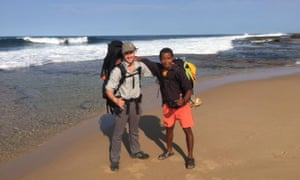 Ash Dykes on the left and one of his guides, Mi, on the right at the southern tip of Madagascar.