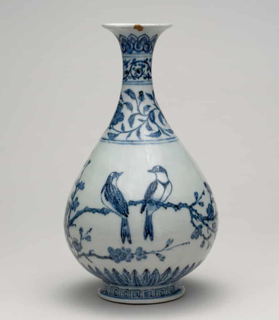 15th-century porcelain bottle from Jingdezhen, Jiangxi province, China.