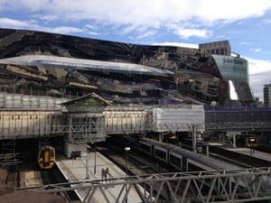 Mangled mess … The new station seen from the west.