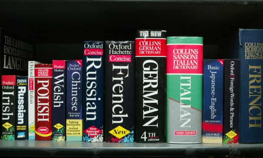 Dictionaries on a shelf