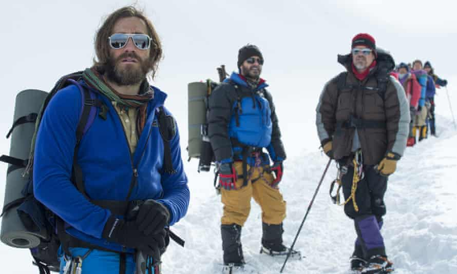 Jake Gyllenhaal, from left, as Scott Fischer, Michael Kelly as Jon Krakauer, and Josh Brolin as Beck Weathers, in  Everest.