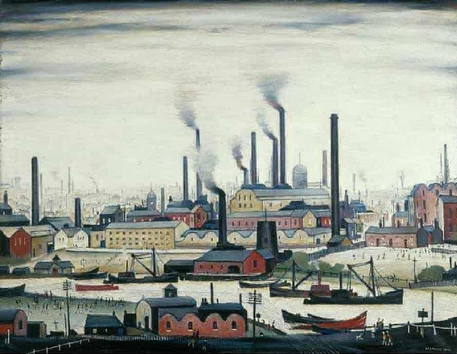 <em>A Riverbank</em> by LS Lowry – Harris remarks on Lowry's even, grey background of sky, unchanging and dim in all his work.