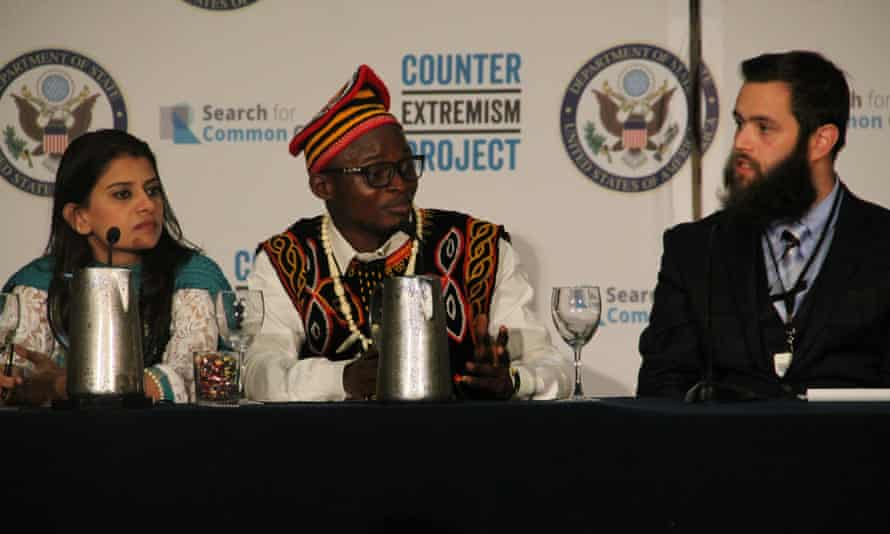 Yousef Assidiq and other participants of the Global Youth Summit against violent extremism on a panel