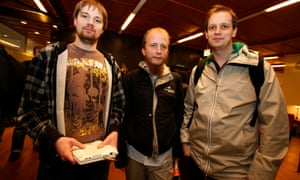 Gottfrid Svartholm, centre, with co-founders Fredrik Neij (left), and Peter Sunde (right), on the last day of their initial trial in 2009.