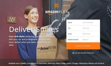 Amazon's job advert for Amazon Flex.