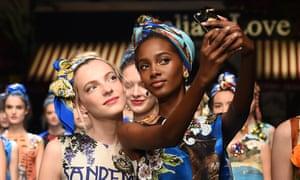 Selfie chic: Dolce & Gabbana at Milan fashion week Spring/Summer 2016.