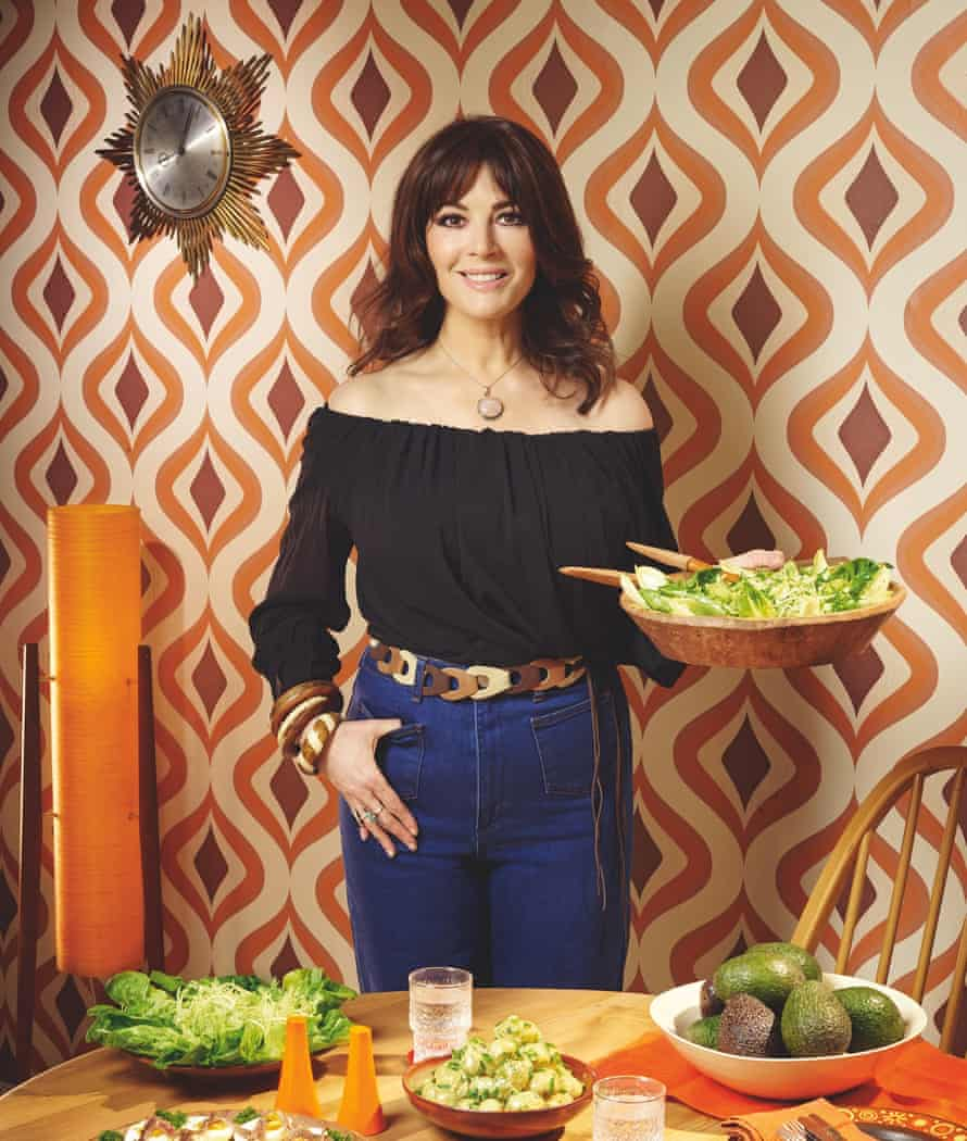 Photograph of Nigella Lawson and avocadoes.