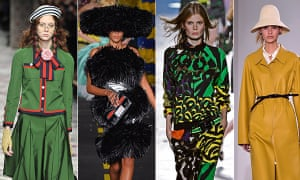 Milan fashion week SS2016: Gucci (left) and Jil Sander (far right), and Moschino and Versace (centre).