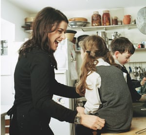 Photograph of Nigella Lawson and her children