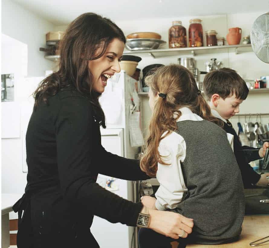 Photograph of Nigella Lawson and her children