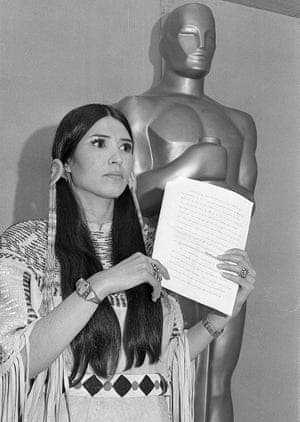 Native American Sacheen Littlefeather, who read out a letter from Marlon Brando refusing his Oscar for The Godfather as a pro-native American protest