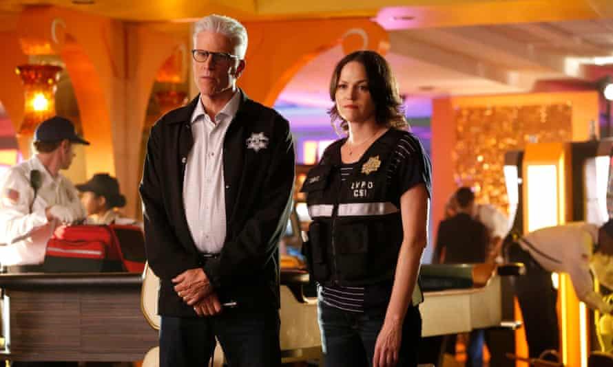 Cheers…Ted Danson and Jorja Fox on CSI: Immortality.