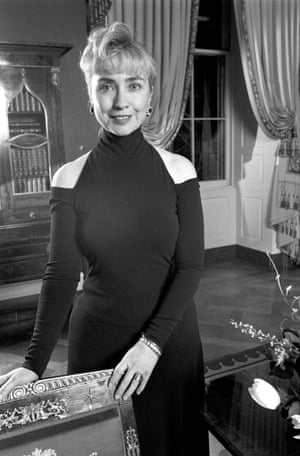 Then First Lady Hillary Rodham Clinton at her first state dinner at the White House, in Washington, Feb. 1, 1993 in the 'cold shoulder' dress.