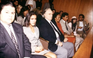 The Brandos in court during Christian's bail application following his murder chrage, left to rightt: son Miko, daughter Rebecca, Marlon Brando, third wife Tarita, son Teihotu and Christian's ex-girlfriend Jocelyn Lew.