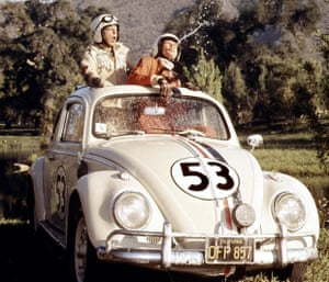 With co-stars Buddy Hackett and Herbie the Volkswagen Beetle in The Love Bug.