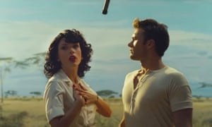 Taylor Swift and Scott Eastwood are dressed in fifties clothing against the backdrop of savannah grasslands for her video Wildest Dreams