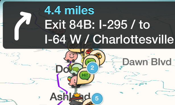 A Waze map complete with crowd-sourced information.