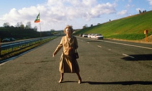 Prime minister Margaret Thatcher at the opening of London's M25 orbital motorway in October 1986.
