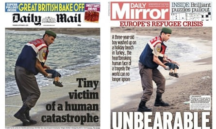 How the Daily Mail and Daily Mirror featured the picture of Aylan Kurdi