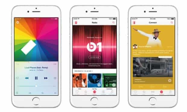 Apple Music on three iPhones