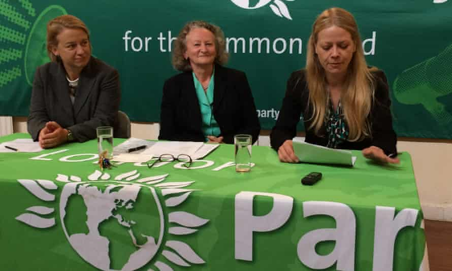 Green Party mayoral candidate Sian Berry with Jenny Jones and Natalie Bennett
