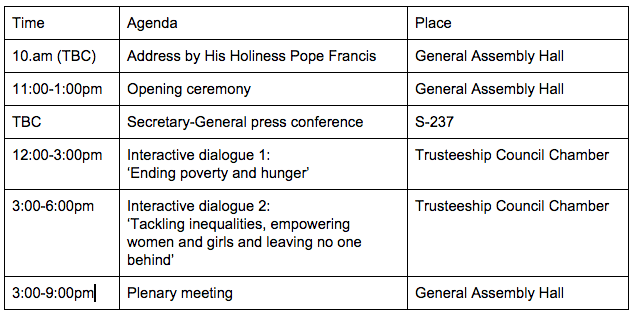 Timetable of events for Friday, 25 September.