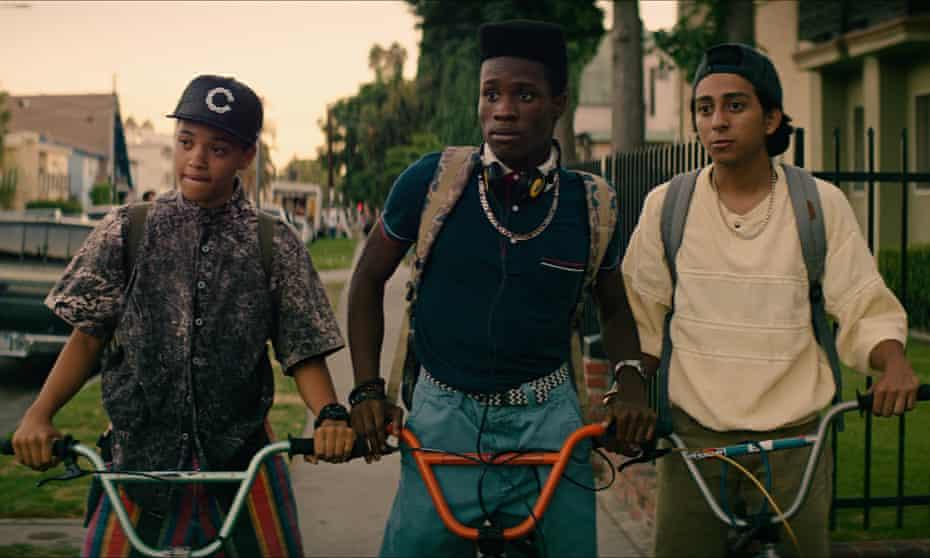 Kiersey Clemons as Diggy, Shameik Moore as Malcolm and Tony Revolori as Jib in Dope.