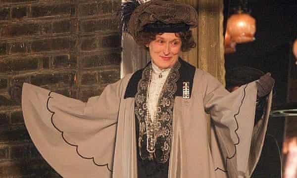 Meryl Streep in costume as Emile Pankhurst for the film Suffragette