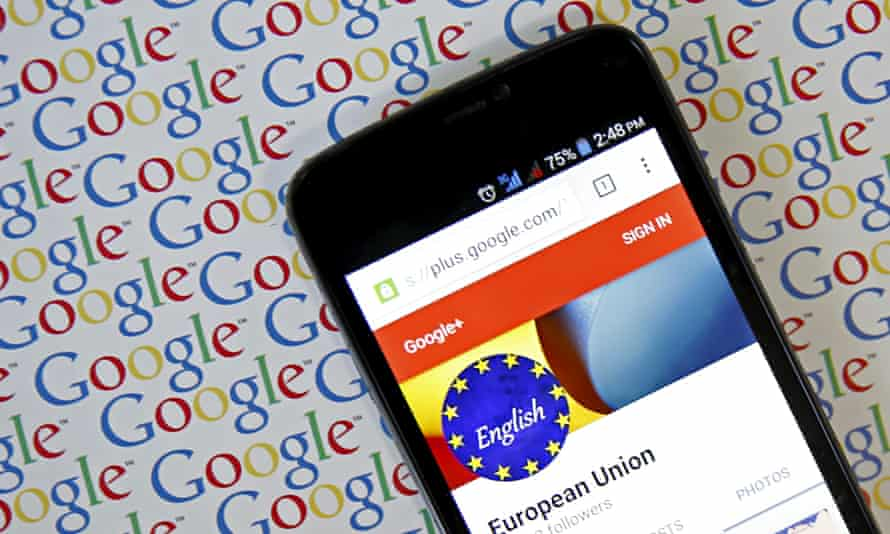 A smartphone, showing a European Union Google Plus account page