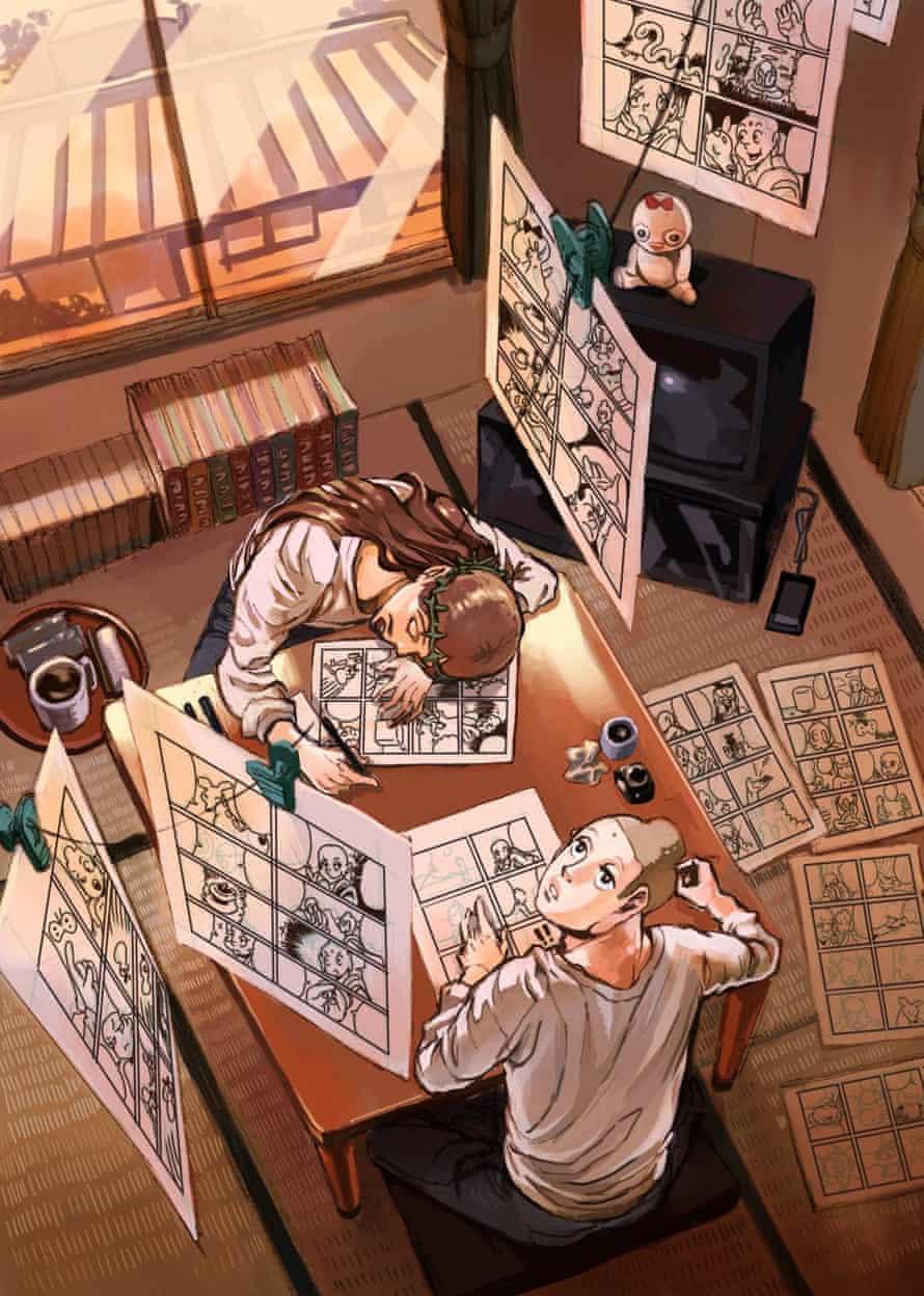 Buddha and Jesus drawing manga by Nakamura Hikaru.