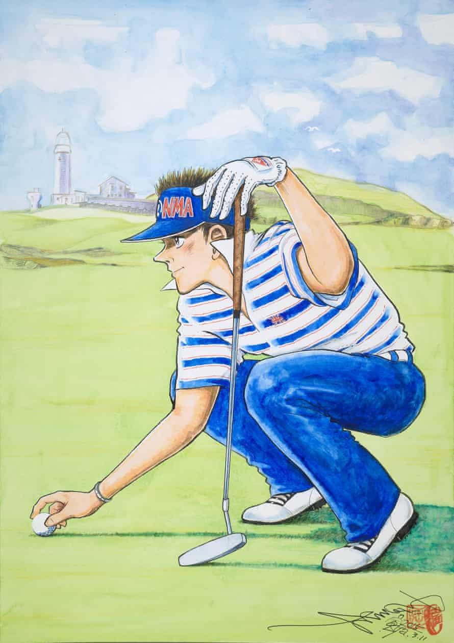 A golfer on Fair Isle Lighthouse Keepers Golf Course, Scotland by Chiba Tetsuya