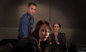 Martin Compston, Keeley Hawes and Vicky McClure in Line of Duty series 2.