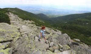 Maddy on the Tatranská Magistrála footpath in Slovakia's High Tatra.