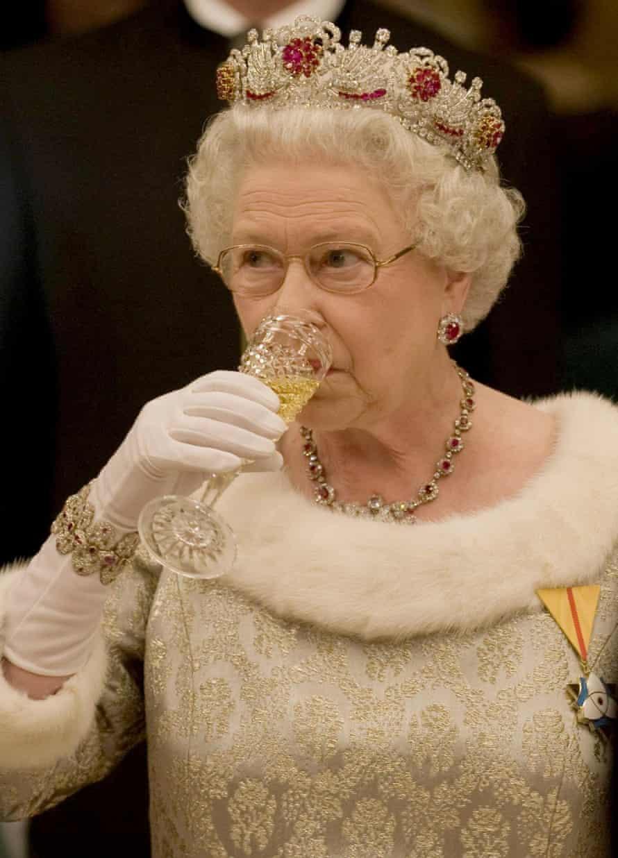 Britain's Queen Elizabeth II at a state banquet inside Brdo Castle near Ljubljana, Slovenia